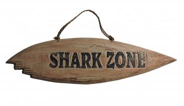 Holzschild ca. 39cm x 14cm - Shark Zone mit Biss
