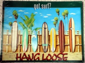 "Metallschild - Stahlblechschild - Hang Loose - ""Got Surf?"" - 40,5cm x 30cm"