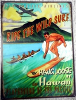 "Metallschild - Stahlblechschild - Hang Loose - ""Ride the Wild Surf"" - 40,5cm x 30cm"