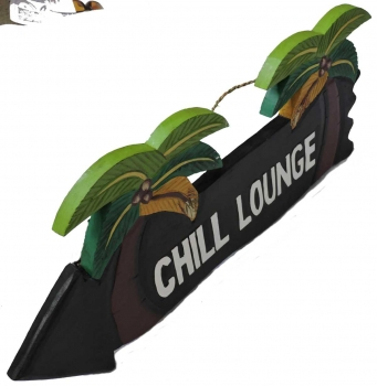 HANG LOOSE - Holzschild, 39cm x 14cm, CHILL LOUNGE -