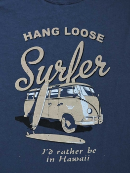 T-Shirt - HANG LOOSE - 'surfer bus' - Motiv vorne