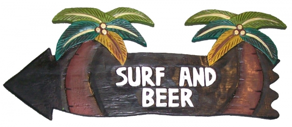 HANG LOOSE - Holzschild, 39cm x 14cm - SURF AND BEER -
