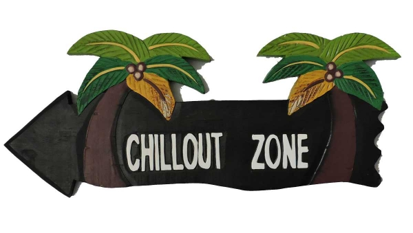 HANG LOOSE - Holzschild, 39cm x 14cm - CHILLOUT ZONE