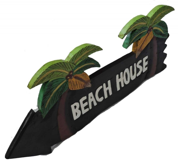 HANG LOOSE - Holzschild, 39cm x 14cm, - BEACH HOUSE -