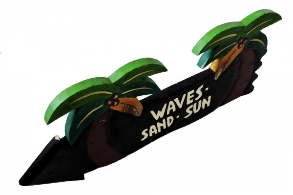 HANG LOOSE - Holzschild, 39cm x 14cm, - WAVES SAND FUN