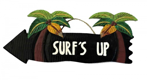 HANG LOOSE - Holzschild, 39cm x 14cm, - SURF'S UP -